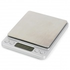 "I-2000 1.7"" LED Digital Kitchen Desktop Scale - Silver White + Silver (2 x AAA / 2000g / 0.1g)"