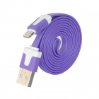 USB Male to 8pin Lightning Charging & Data Sync Flat Cable for iPhone 5 - Purple (100cm)