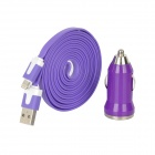 USB Car Charger + USB Stecker auf 8pin Lightning Flat Cable - Purple (200cm)