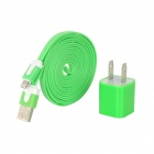 USB US Plug Power Adapter + USB Stecker auf 8pin Lightning Flat Cable - Green (200cm)