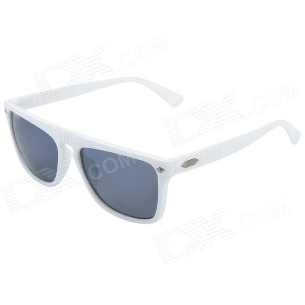 OREKA S997 UV400 Protection Stylish Resin Lens Polarized Sunglasses - White + Grey carshiro 510 men s clip on resin lens uv400 protection polarized sunglasses grey