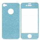 Shinning Shimmering Powder Decoration Front + Back Sticker for Iphone 4 / 4S - Blue