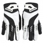 Knighthood YJ001 Polyester + Spandex Fabric Full-Finger Gloves - Black + White (Pair / Size XL)