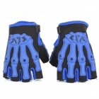 Pro-Biker Non-slip Skeleton Half-Fingers Motorcycle Racing Gloves - Blue + Black (Pair / Size M)