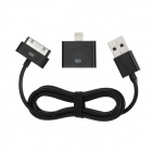 USB Male to Apple 30pin Male Charging & Data Sync Cable + 30pin Female to 8pin Lightning Adapter