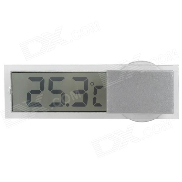 Car LCD Glass Digital Thermometer w/ Suction Cup - Transparent + Silver (1 x LR1130)