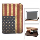 Retro American Flag Pattern PU Leather 360 Degree Rotatable Case w/ Card Slots for Ipad MINI