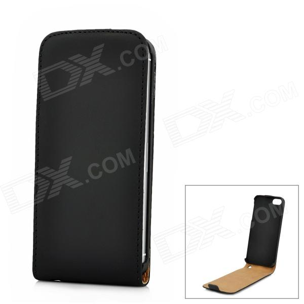 Protective PU Leather Top Flip Open Case for Iphone 5 - Black protective pu leather flip open case for iphone 4 4s black
