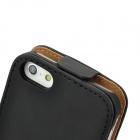 Protective PU Leather Top Flip Open Case for Iphone 5 - Black