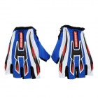 Pro-Biker Non-slip Half-Fingers Motorcycle Racing Gloves - Blue + White + Red + Black (Pair /Size L)