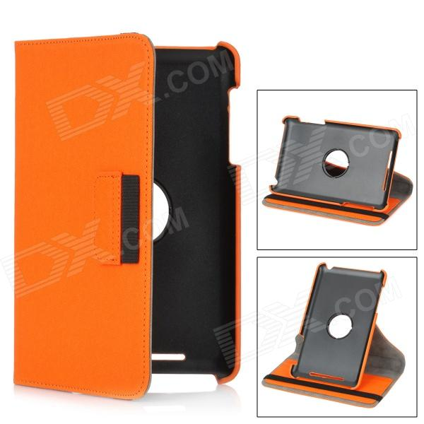 Protective Flip-Open 360 Degree Rotation PU Case w/ Wallet + Card Slot for Nexus 7 - Orange levett caesar prostate massager for 360 degree rotation g spot