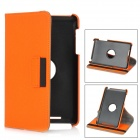 Protective Flip-Open 360 Degree Rotation PU Case w/ Wallet + Card Slot for Nexus 7 - Orange
