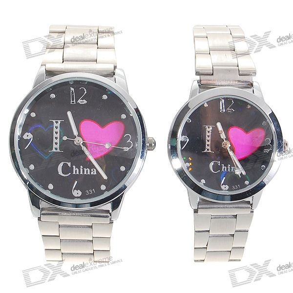 Valentine's Day Gift - Couple's Steel Watches with Gift Box