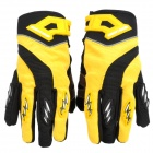 Knighthood YJ002 Polyester + Spandex Fabric Full-Finger Gloves - Yellow + Black (Pair / Size XL)