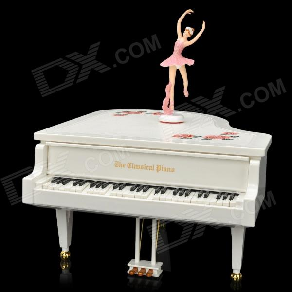 CF-324AL Classical Piano Music Box MP3 Player w/ Ballet Dancer - White (2 x AA / 2 x Size C) human body interaction music playing game toy white pink 2 x aa
