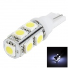 LGFOX T10 0.5W 90lm 6000K 9-SMD 5050 LED White Light Car Bulb - White