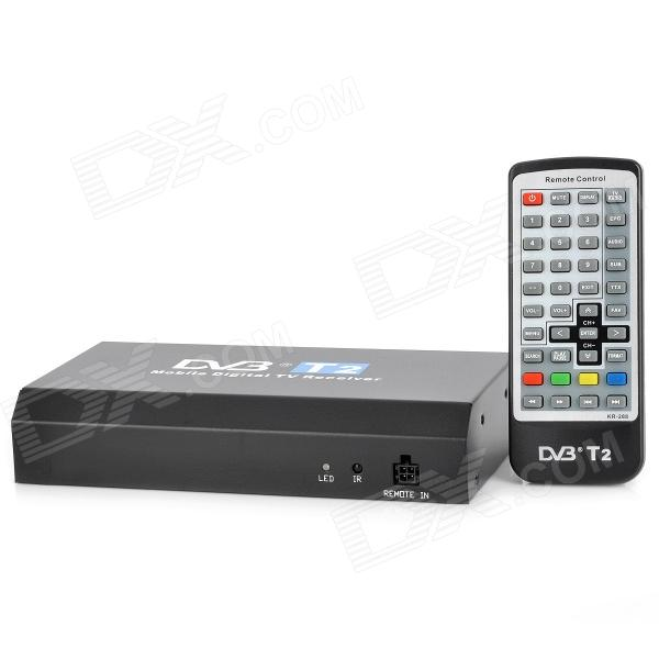 T288A HD MPEG-4 DVB-T2 Car TV Digital Receptor Controlador w / Remote - Preto