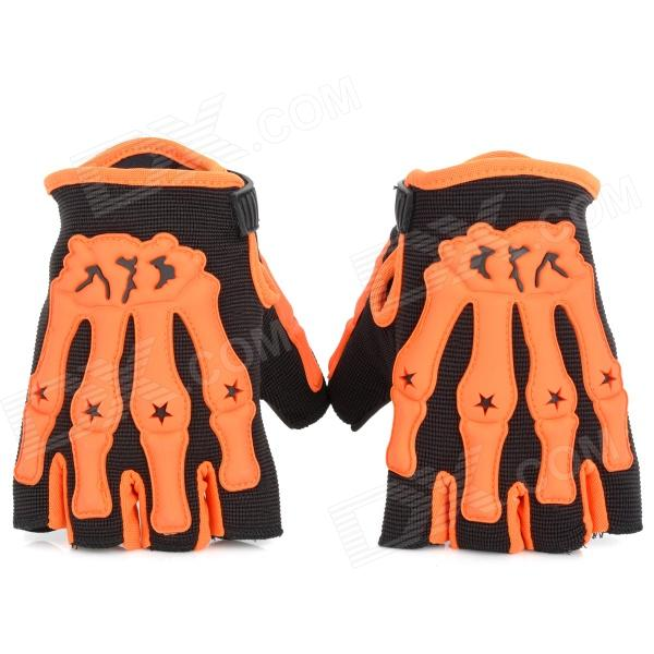 Cycling Motorcycle Anti-Slip Breathable Half-Finger Gloves - Orange + Black (Pair / Size M)