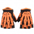 Sports Motorcycle Racing Skeleton Half Fingers Gloves - Orange + Black (Pair)