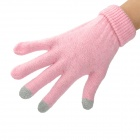 Capacitive Screen Touching Hand Warmer Imitative Cashmere Gloves for Iphone / Ipad - Pink (Pair)