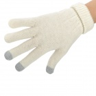 Capacitive Screen Touching Hand Warmer Imitative Cashmere Gloves for Iphone / Ipad - Beige (Pair)