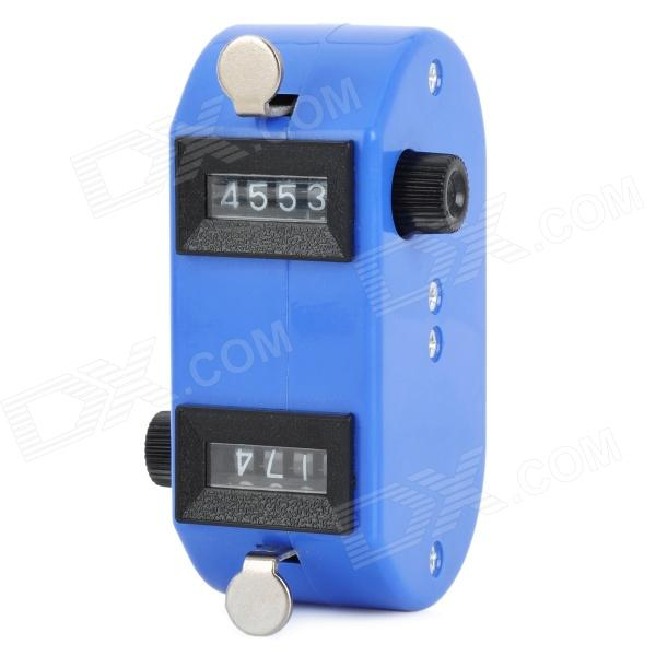 Dual 4-Digit Handheld Mechanical Counter - Blue + Black