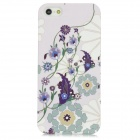 Flower Pattern Protective Plastic Back Case for iPhone 5 - Light Purple