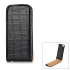 Crocodile Pattern PU Up-Down Flip-Open Case for Iphone 5 - Black