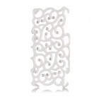 Flower Pattern Protective Plastic Rhinestone Back Case for Iphone 4 / 4S - White