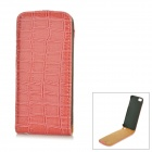 Crocodile Pattern PU Up-Down Flip-Open Case for Iphone 5 - Brownish Pink
