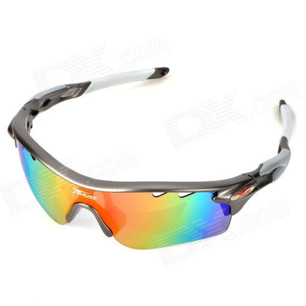 Panlees PO565 Outdoor Replaceable Polarize PC Lens TR90 Frame UV Protection Goggles - Silvery Grey - DXGoggles<br>Brand panlees Model PO565 Quantity 1 Gender Mens Suitable for Adults Protection No Frame Color Silvery grey Lens Color Multicolor + dark green + yellow Frame Material TR90 Lens Material PC Lens Height 39 mm Lens Width 68 mm Bridge Distance 23 mm Overall Width of Frame 143 mm Temple Length 120 mm Features Wearing comfortably; Lens leg is made of anti-slip mastic protecting sunglasses slip-off from sports; Three different lens suit different weather and occasions; UV protection safe and comfortable; Three lens: polarized gray lens: can eliminate and filter scattered ray making vision clear and natural scene softer; Yellow lens: suitable for nightfall and dim places; Plated Revo lens: filters large amount of blue light improves vision contrast and clearness and prevents reflexed light on smooth surface Packing List 1 x Eyeglasses 1 x Polarized lens 2 x PC lens (yellow + dark green plated Revo) 1 x Eyeglasses pouch 1 x Cleaning cloth 1 x Black eyeglasses box 1 x Strap (65cm)<br>