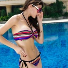 New Arrived Colorful Stripes Swimwear Bikini Swimsuit - Mixed Color
