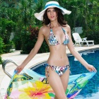 New Arrived Exquisite Classic String Triangle Swimwear Set Bikini Swimsuit - Blue + White + Black