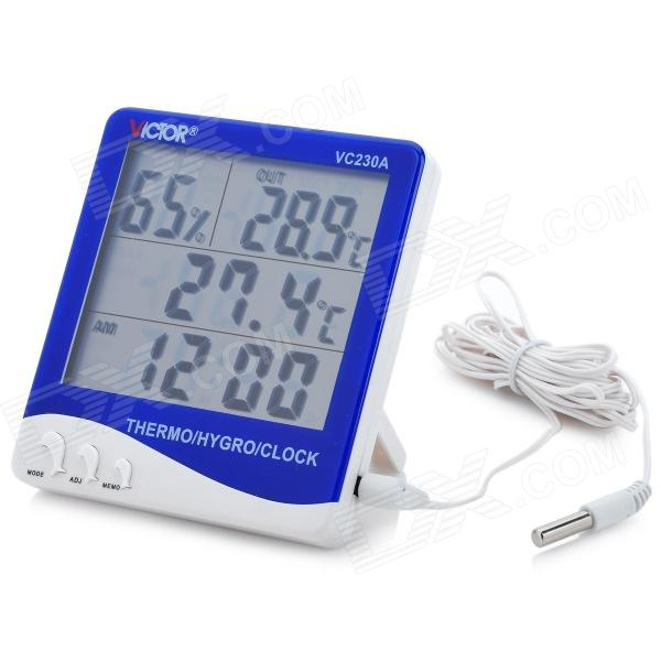 Multi-Functional Digital Thermometer / Hygrometer / Clock w/ Temperature Probe - Blue (1 x AAA)