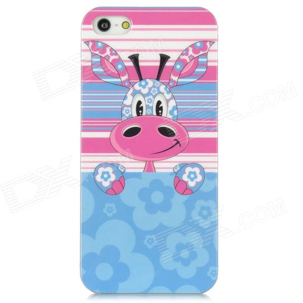 Cute Giraffe Pattern PC Back Case for Iphone 5 - Blue + Pink cute girl pattern protective rhinestone decoration back case for iphone 5 light pink light blue