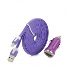Car Cigarette Lighter Charger + USB to 8Pin Lightning Charging Cable for iPhone 5 / Nano7 - Purple