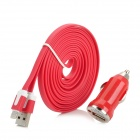Car Cigarette Lighter Charger + USB to 8Pin Lightning Charging Cable for iPhone 5 / Nano 7 - Red