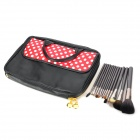MEGAGA 1007-1 13-in-1 Makeup Wolf Fur Brushes Set w/ Polka Dots Bag - Black + White + Red