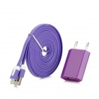EU-Stecker-Adapter + USB 8Pin Blitz-Ladekabel für iPhone 5 / Nano 7 / Touch 5 - Purple