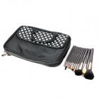 MEGAGA 1007-2 13-in 1 Makeup Wolf Fur Brushes Set w/ Polka Dots Carrying Bag - Black + White