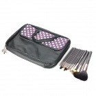 MEGAGA 1007-3 13-in-1 Makeup Wolf Fur Brushes Set w/ Polka Dots Bag - Black + White + Purple