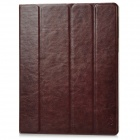 Nice P3018 Protective Flip-Open Genuine Leather Case w/ Sleep + Stand for New Ipad / Ipad 2 - Brown