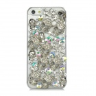 Skull Style Protective Plastic Rhinestone Back Case for iPhone 5 - Silver