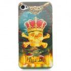 3D Skull Pattern RGB LED PC Back Case for iPhone 4 / 4S - Yellow + Green (1 x CR2016)