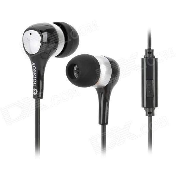 купить SONGQU SQ-IP1015 Stylish In-Ear Stereo Earphone - Black + Silver (3.5MM Plug) недорого