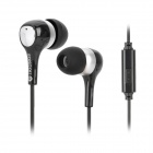 SONGQU SQ-IP1015 Stylish In-Ear Stereo Earphone - Black + Silver (3.5MM Plug)