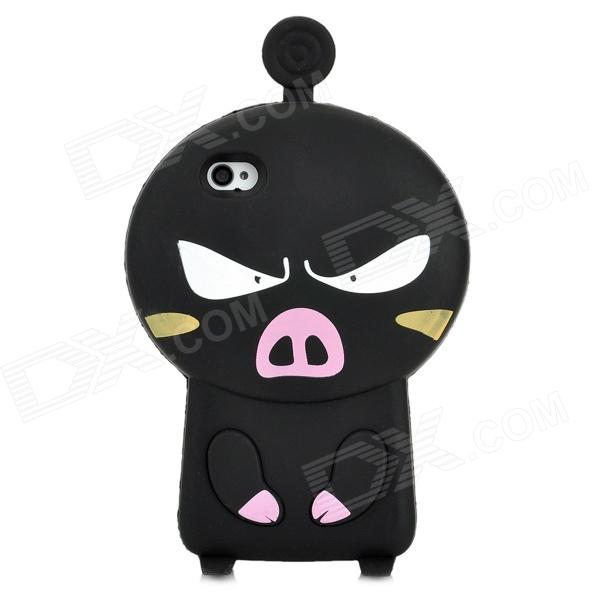 3D Cartoon Pig Style Protective Silicone Case for Iphone 4S / Iphone 4 - Black ziqiao cartoon cat style protective soft silicone back case for iphone 4 4s black red