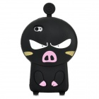 3D Cartoon Pig Style Protective Silicone Case for Iphone 4S / Iphone 4 - Black