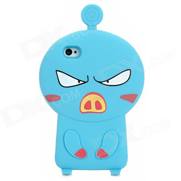 3D Cartoon Pig Style Protective Silicone Case for Iphone 4S / Iphone 4 - Blue mz protective silicone case cover for iphone 4 4s translucent blue page 4