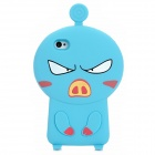 3D Cartoon Pig Style Protective Silicone Case for Iphone 4S / Iphone 4 - Blue